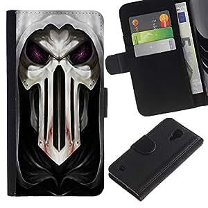 Billetera de Cuero Caso del tirón Titular de la tarjeta Carcasa Funda del zurriago para Samsung Galaxy S4 IV I9500 / Business Style Goth Skull Mask Scary
