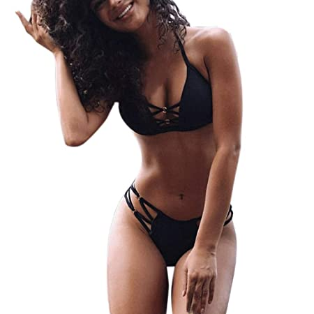 XIAOL Home Bikini de Moda Sexy para Mujer Conjunto de Color sólido ...