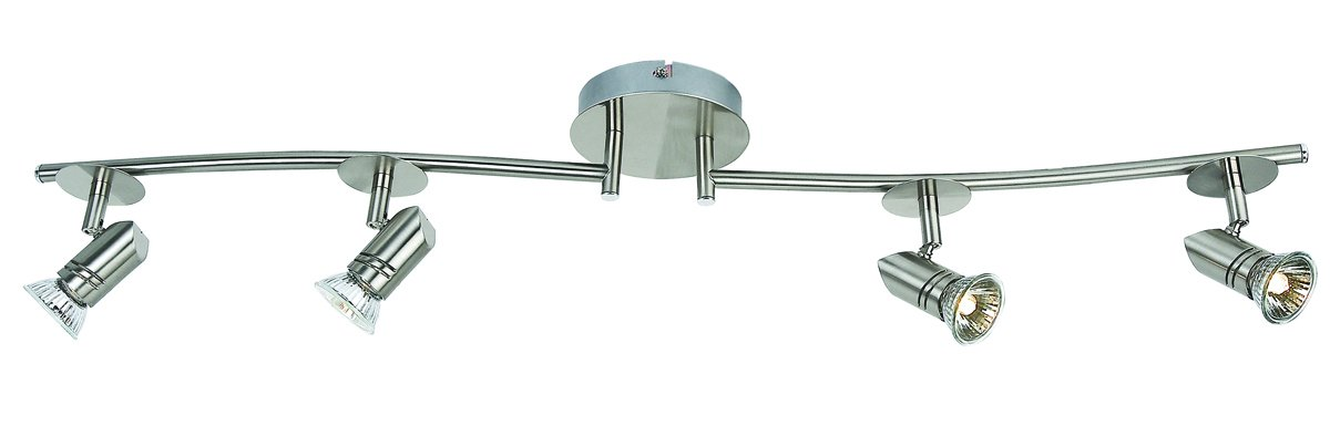 Catalina 19211-000 Four Light Fixed Track with Adjustable Arms in Brushed Nickel Finish