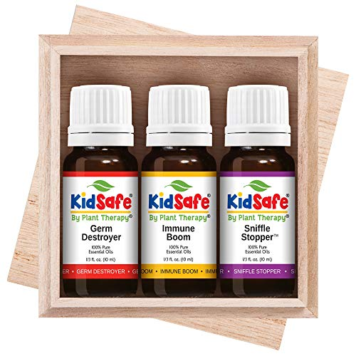 Plant Therapy Essential Oil | KidSafe Wellness Sampler Boxed Set | Includes Germ Destroyer, Immune Boom, Sniffle Stopper | 100% Pure, Undiluted, Natural Aromatherapy | 10 milliliter (1/3 ounce)