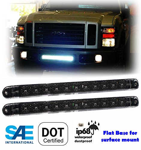 2 x 17 Clear White LED Surface Flange Mount Truck Trailer Jeep RV Reverse Back Up Driving Clearance Waterproof Submersible Light Bar