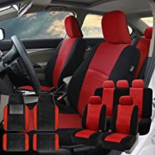 FH GROUP FH-FB060115 Trendy Elegance Car Seat Covers, Airbag compatible and Split Bench with F14407 Premium Carpet Floor Mats Red / Black- Fit Most Car, Truck, Suv, or Van