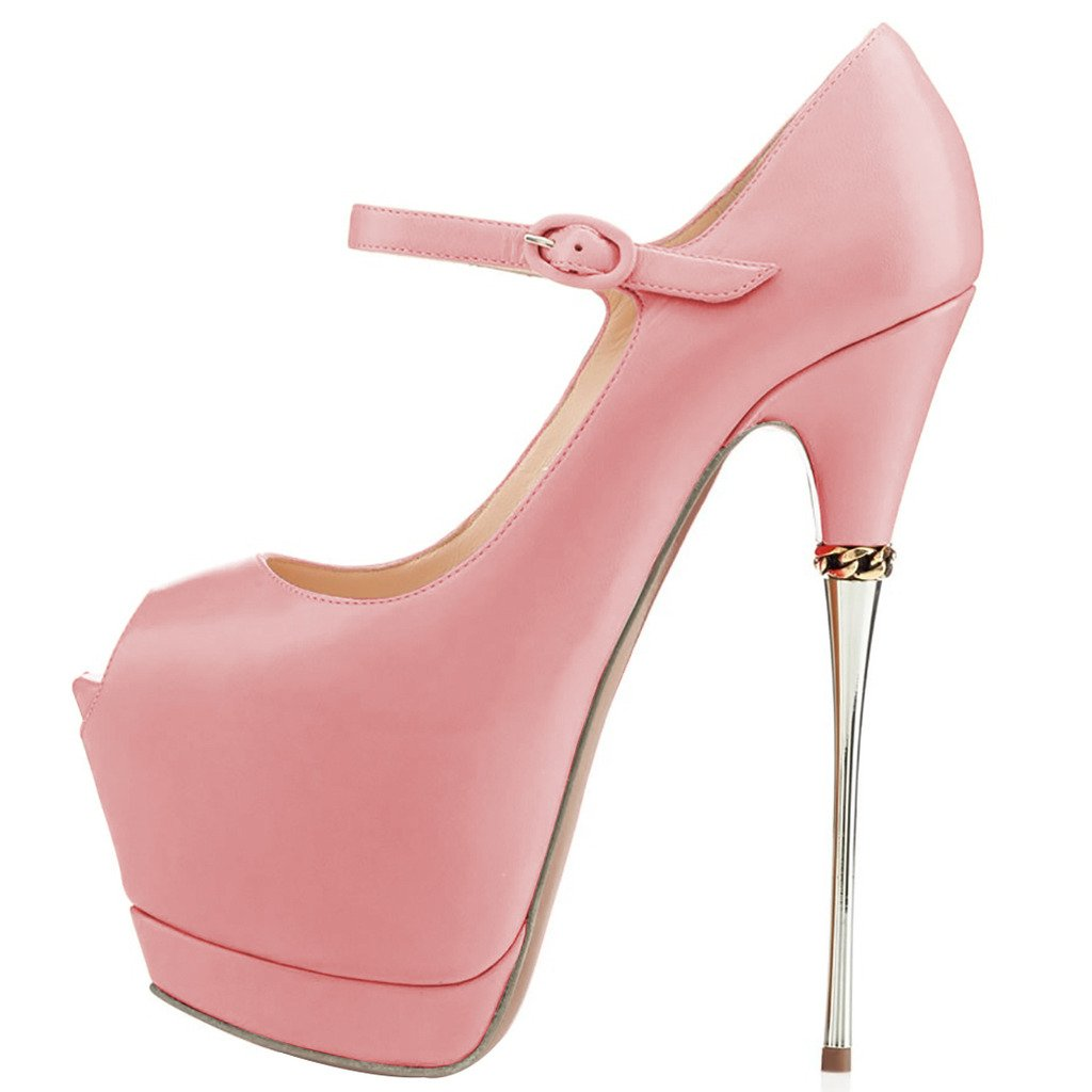 YDN Women Heels Peep Toe Sky High Heels Women Platform Pumps Ankle Straps Shoes Metal Stilettos B075XKW34T 11 M US|Pink-pu 7e89b3