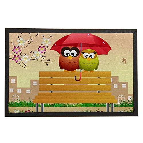 Asawood Doormat Owl Couple Under the Umbrella Anti-Slip Rubber Backed Indoor Entry Doormat 24