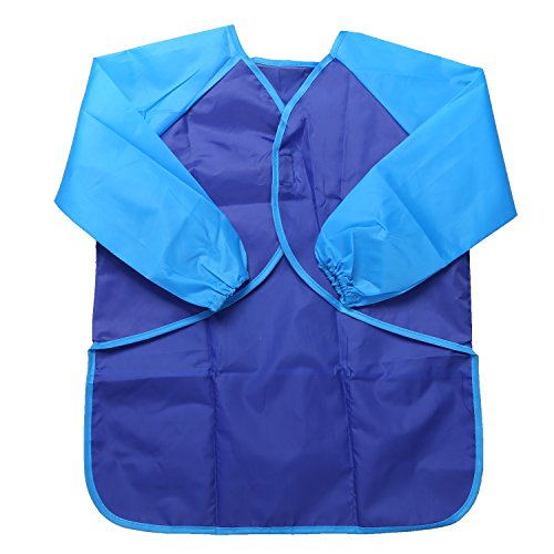 NEWSTYLE Art Smock with Long Sleeve - Waterproof Full Protection Children's Artist Smocks Painting Apron, Ages 3-5 Blue