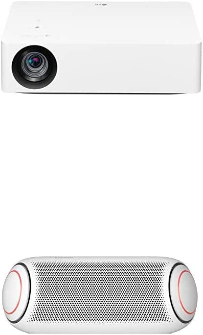 LG HU70LA 4K UHD Smart Home Theater CineBeam Projector with PL7W XBOOM Go Water-Resistant Wireless Bluetooth Party Speaker with Up to 24 Hours Playback – White