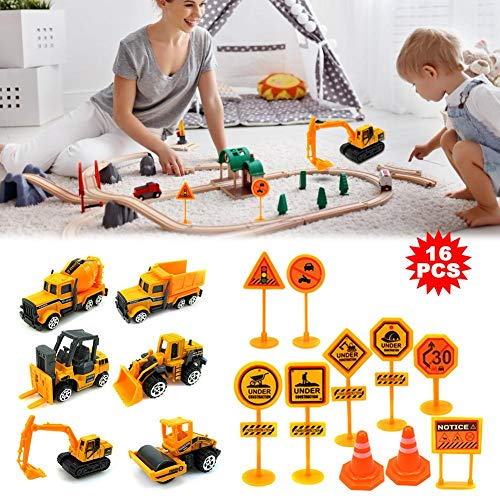 Mini Alloy Construction Vehicle Engineering Car with Traffic Sign, Excavator Toy for Children Kids Boys and Girls, Model Cars Toy Forklift,Bulldozers,Asphalt Car,Tank Truck,Excavator,Dumper