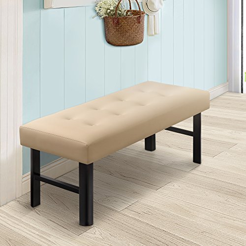 Olee Sleep OLR18BB02F Tall Memory Foam Padded Upholstered Bench Cushiony Modern Beige