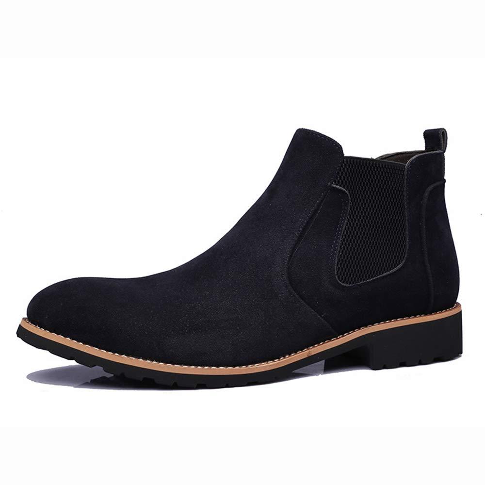 ZHRUI Mens Chelsea Stiefel aus echtem Leder weiche Sohle Breathable Durable Comfort Stiefel (Farbe   Blau, Größe   EU 44)