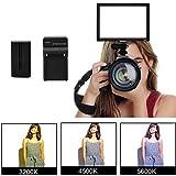 LED Video Light Panel, Dazzne Bi-Color Photography Lighting On-Camera Light CRI95 3200K-5600K Dimmable 1-100% Brightness 1080lm with Battery
