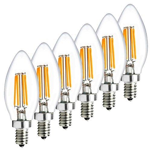 4W Dimmable E12 LED Bulbs, LED Torpedo, 40W Incandescent Bulbs Equivalent, Candelabra Bulbs, Warm White 2700K, LED Candle Bulbs by Volare-HK