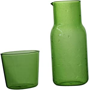 YARNOW 500ml Water Carafe Set Hot Cold Water Milk Beverage Pitcher with Matching Glasses Drinking Water Bottle Kettle for Bedroom Home Restaurant Supplies Green
