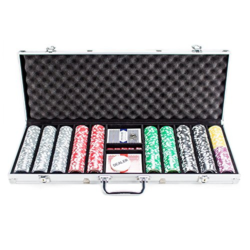 - 500 Count The Ultimate Poker Set - 14 Gram Clay Composite Chips with Aluminum Case, Playing Cards, & Dealer Button for Texas Hold'em, Blackjack, & Casino Games by Brybelly