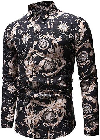 Sencillo Vida Shirts Camisas de Hombre de Vestir Manga Larga Estampadas Camisa para Hombre Slim Fit Camisa Hombres Casual Clásico Cuello de Solapa con Botones Camiseta Básica: Amazon.es: Ropa y accesorios