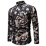NUWFOR Men's New Pattern Casual Fashion Lapel Printing Long Sleeved Shirt(Black,US:L Chest 40.9)