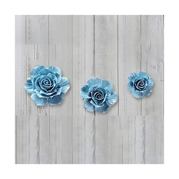 ALYCASO 3D Rose Wall Flower Decoration for Living Room Bedroom Hanging Ceramic Flower Pediments Sculpture, Blue, 4.33 inch