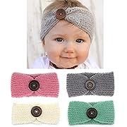 Elesa Miracle Baby Hair Accessories Baby Girl's Gift Box with Knit Crochet Turban Headband Winter Warm Headband (4pc- Button)