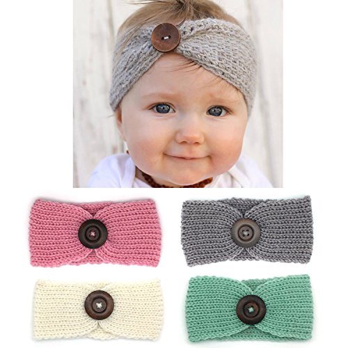 Elesa Miracle Baby Hair Accessories Baby Girls Gift Box with Knit Crochet Turban Headband Winter Warm Headband (4pc- Button)