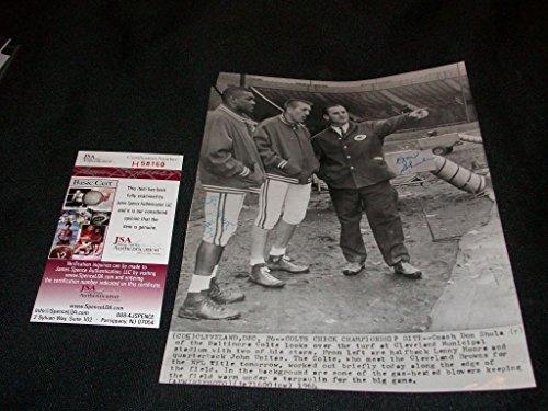 Don Shula & Lenny Moore Auto Signed Vintage Original Wire Photo JSA COA RARE BC