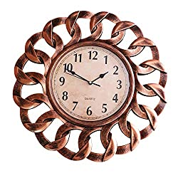 SUN-E 16 Inch Large Wall Clock Decor Silent Non Ticking Modern Vintage Style Wall Clocks Decorative Wall Decoration for Home,Office,Round Classic Perfect Wall Decoration Gift (Red Copper)