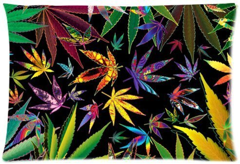 Marijuana Weed Leaf Nature Green Lifestyle Design Microfiber Pillowcase Cover - Standard Size 20x30 inch (one side) by Marijuana Pillow Case