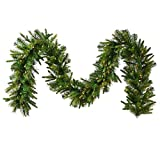 Vickerman Pre-Lit Cashmere Pine Garland with 500 Multicolored Italian LED Lights, 50-Feet by 14-Inch, Green
