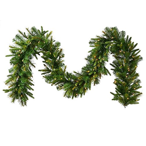 Vickerman Pre-Lit Cashmere Pine Garland with 500 Multicolored Italian LED Lights, 50-Feet by 14-Inch, Green by Vickerman