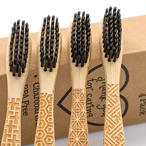 Natural Bamboo Toothbrush with Charcoal Bristle - 4 Pack - BPA Free and Biodegradable - Environmentally Friendly Toothbrushes - Gift with Beautiful Engraver - Zero Waste and Vegan Compostable Products