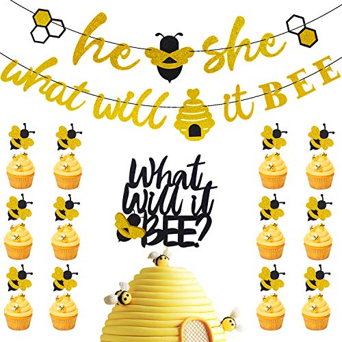 (27 Pieces What Will It Bee Banner & Bumble Bee Cupcake Topper & Double Side Baby Shower Cake Topper He or She Gender Reveal Themed Party Supplies Glitter)