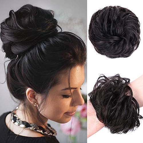 Stamped Glorious 100% Human Hair Curly Wavy Updo Hair Bun Extensions Curly Messy Hair Pieces for Women Wedding Hair Pieces for Women Kids Donut Updo Ponytail Scrunchy Updo Human Hair Extension(1#)