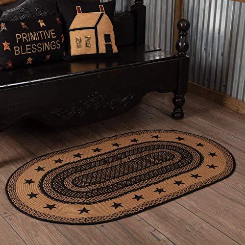 VHC Brands Classic Country Primitive Flooring - Farmhouse Jute Black Stenciled Stars Rug, 3