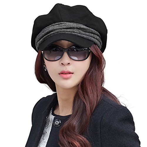 bf4e365745a Siggi Wool Newsboy Cabbie Beret Cap for Women Beret Visor Bill Hat Winter  Black