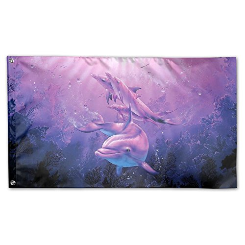 Colby Keats Dolphin Garden Lawn Flags Indoor Outdoor Decoration Home Banner Polyester Sports Fan Flags 3 X 5 Foot ()