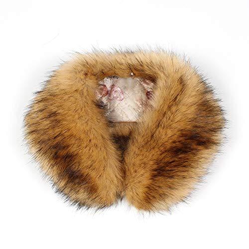 Easytoy Women Faux Fur Collar Women's Neck Warmer Scarf Wrap One Size (Coffee)