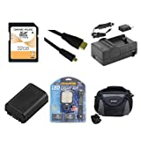 Sony HDR-CX220 Camcorder Accessory Kit includes: SDNPFV50NEW Battery, SDM-109 Charger, SD32GB Memory Card, SDC-26 Case, HDMI6FMC AV & HDMI Cable, LED-70 On-Camera Lighting