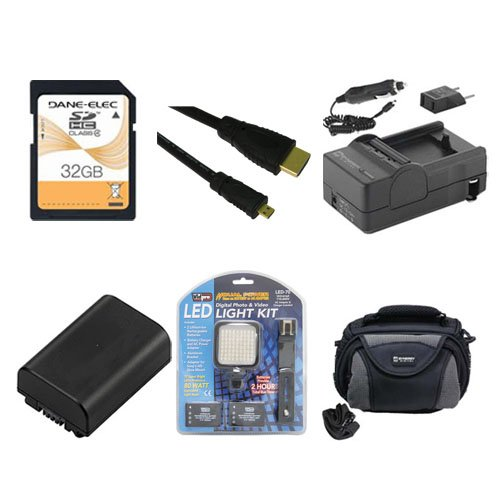 Sony HDR-CX220 Camcorder Accessory Kit includes: SDNPFV50NEW Battery, SDM-109 Charger, SD32GB Memory Card, SDC-26 Case, HDMI6FMC AV & HDMI Cable, LED-70 On-Camera Lighting by Synergy Digital