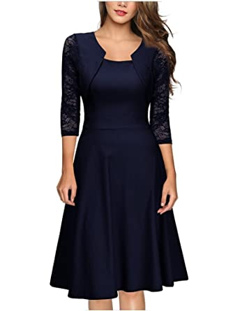 buy popular d6324 bb1fe emmarcon Elegante Abito Cerimonia da Donna Manica in Pizzo a 3/4 Vestito  Corto Sera Party