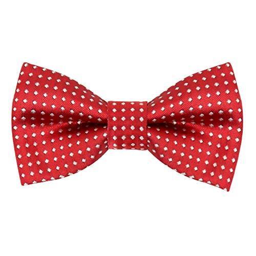 Alizeal Boys Polka Dot Pre-tied Bow Ties (Wine Red) ()