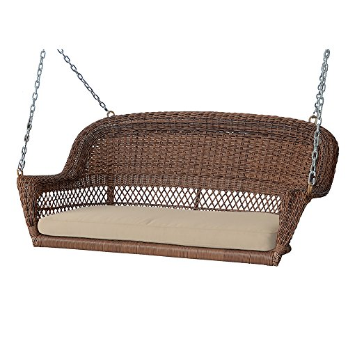 Jeco Honey Wicker Porch Swing with Tan Cushion - All Weather Wicker Swing