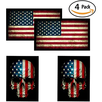 American flag skull flag hardhat helmet stickers 4 decal value pack great