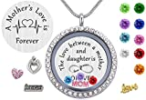 Daughter or Mom Love Gift, Memory Floating Locket Pendant Necklace with Birthstones & Charm for Morther Mom Mammy Mama or Girls