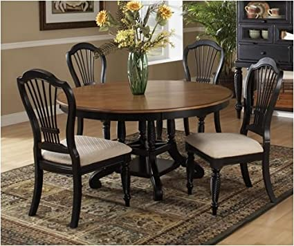Superieur Hillsdale Wilshire 7 Piece Round Dining Table Set In Pine And Black
