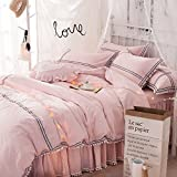 TideTex Queen Size Pink 100% Cotton Duvet Cover Set Cute Fairy Princess Home Textiles Bedding Simple Stripe Modern Bedding Set 4-piece Ruffle Bed Skirt College Dorm Bedding