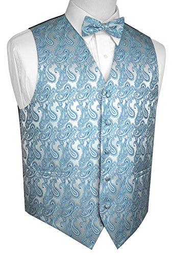 Brand Q Men's Formal, Wedding, Prom, Tuxedo Vest & Bow-Tie Set-Teal Paisley-L
