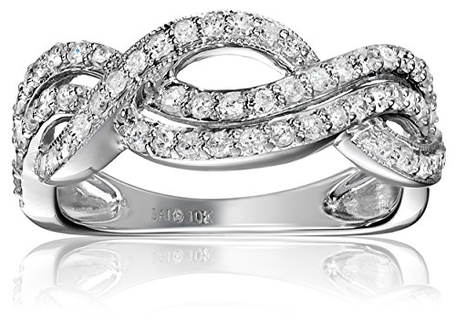 10k White Gold 1/2cttw Diamond  Twisted Ring, Size 8 by Amazon Collection