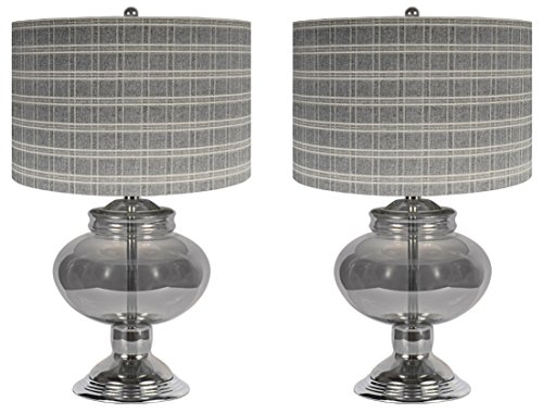 Sheffield Home, AMG and Enchante Accessories, Value Pack of Black Lantern Glass Table Lamps (Set of 2), TL2055-2