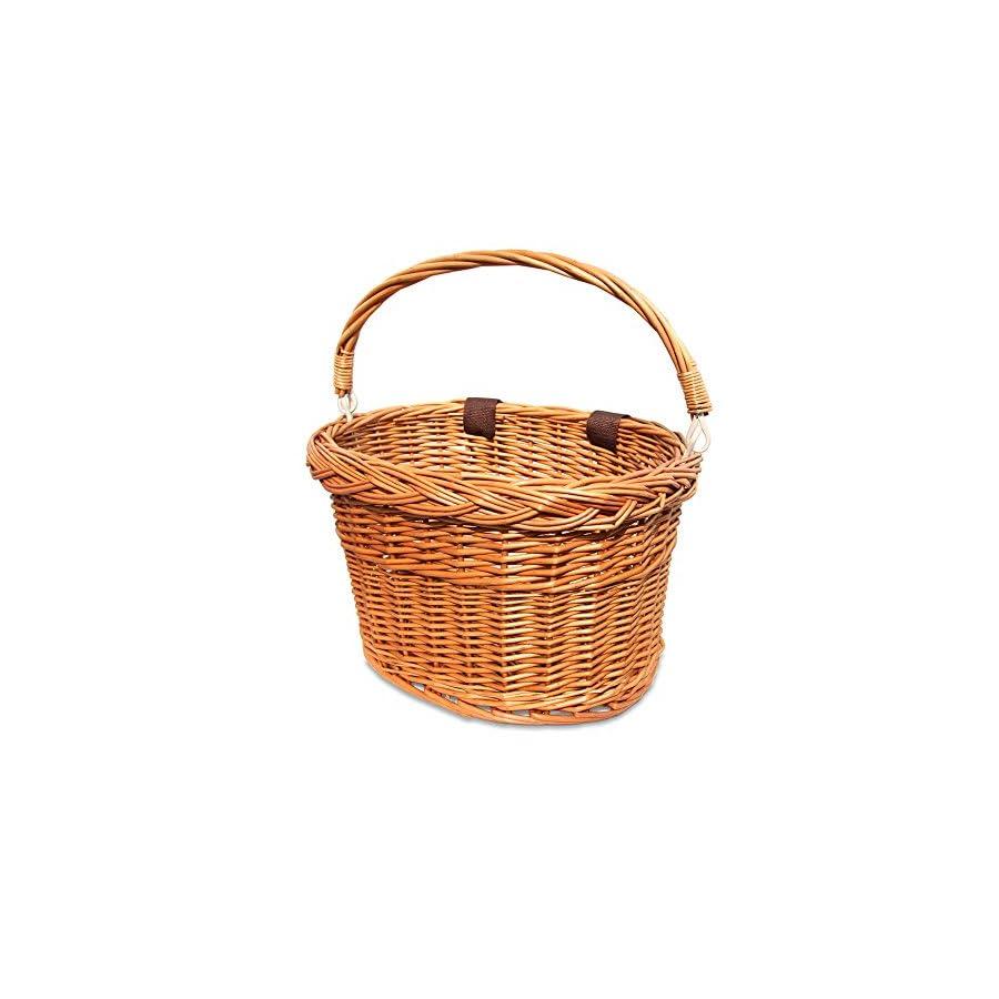 Colorbasket 01594 Adult Front Handlebar Wicker Bike Basket with Handle, 3 Velcro Straps, Natrual