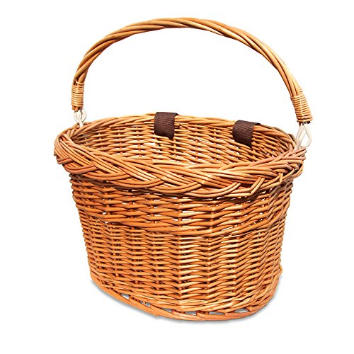 Colorbasket 01594 Adult Front Handlebar Wicker Bike Basket with Handle, 3 Velcro Straps