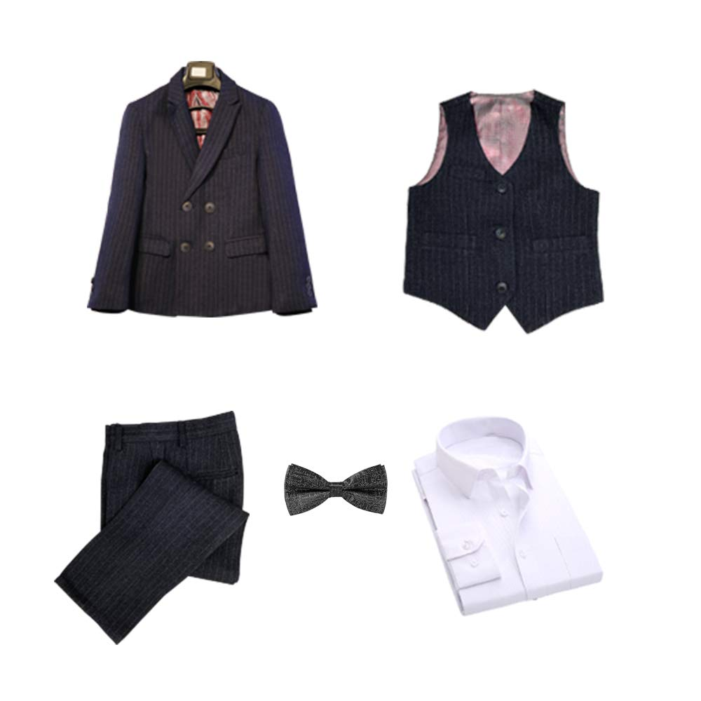 Hibabe Boys Formal Suit String Navy Blue Suit 5 Piece Inset