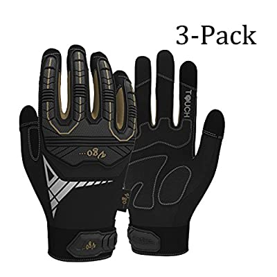 Vgo Glove High Dexterity Heavy Duty Mechanic Gloves, Rigger Gloves(3-Pairs)(Anti-vibration,anti-abrasion,touchscreen,TPR knuckle,EVA padding)